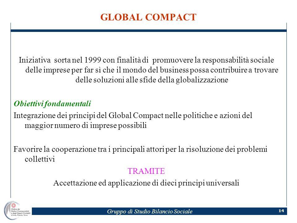 Gruppo di Studio Bilancio Sociale 14 GLOBAL COMPACT Iniziativa sorta nel 1999 con finalità di promuovere la responsabilità sociale delle imprese per f