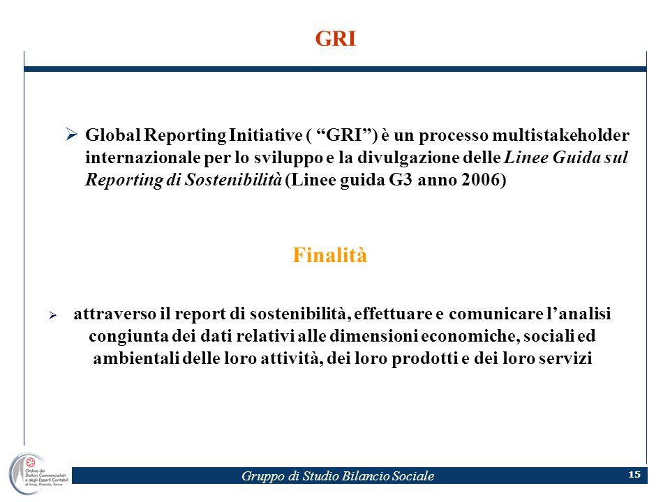 Gruppo di Studio Bilancio Sociale 15 GRI Global Reporting Initiative ( GRI) è un processo multistakeholder internazionale per lo sviluppo e la divulga