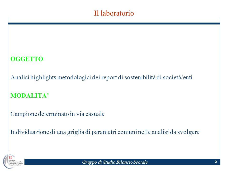 Gruppo di Studio Bilancio Sociale 2 Il laboratorio OGGETTO Analisi highlights metodologici dei report di sostenibilità di società/enti MODALITA Campio