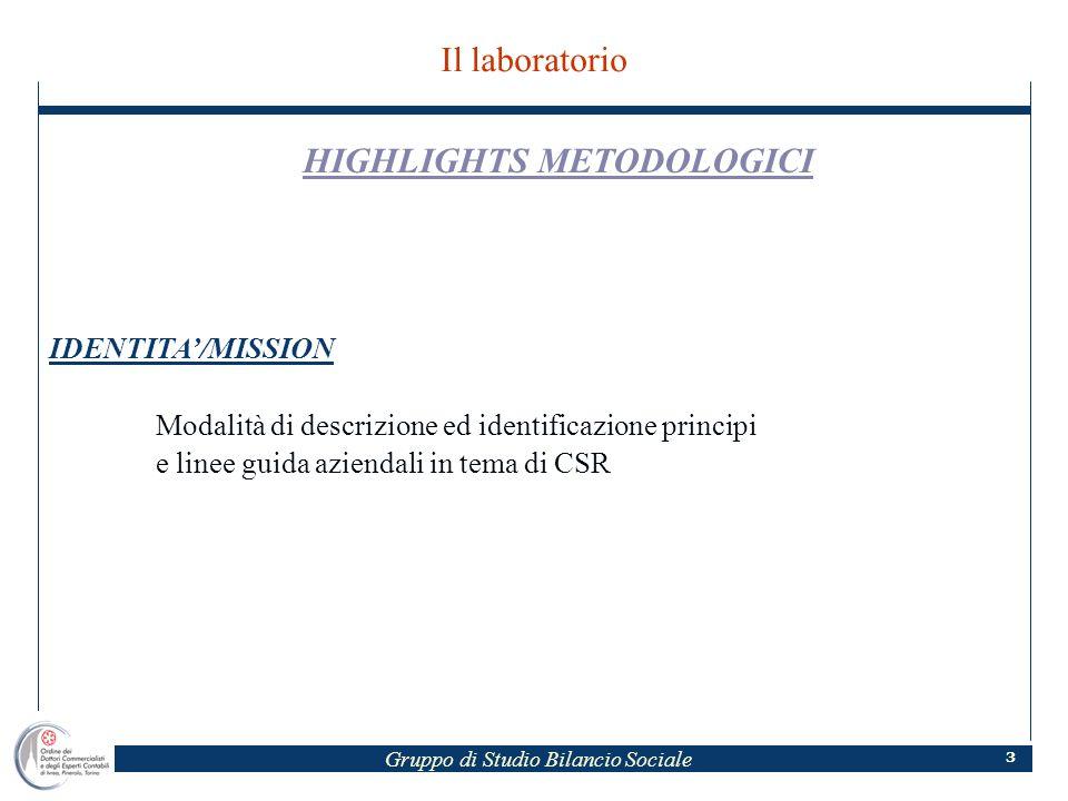 Gruppo di Studio Bilancio Sociale 3 Il laboratorio HIGHLIGHTS METODOLOGICI IDENTITA/MISSION Modalità di descrizione ed identificazione principi e linee guida aziendali in tema di CSR