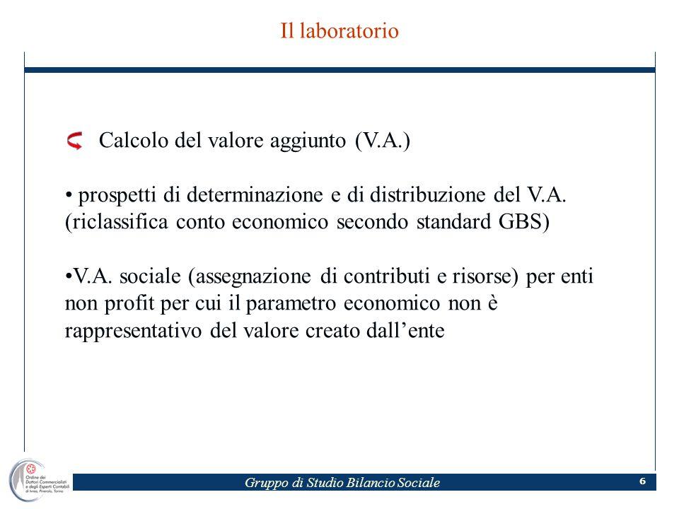 Gruppo di Studio Bilancio Sociale 6 Il laboratorio Calcolo del valore aggiunto (V.A.) prospetti di determinazione e di distribuzione del V.A.