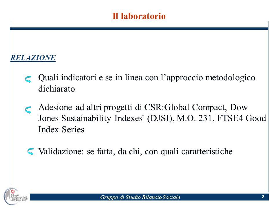 Gruppo di Studio Bilancio Sociale 7 Il laboratorio RELAZIONE Quali indicatori e se in linea con lapproccio metodologico dichiarato Adesione ad altri progetti di CSR:Global Compact, Dow Jones Sustainability Indexes (DJSI), M.O.