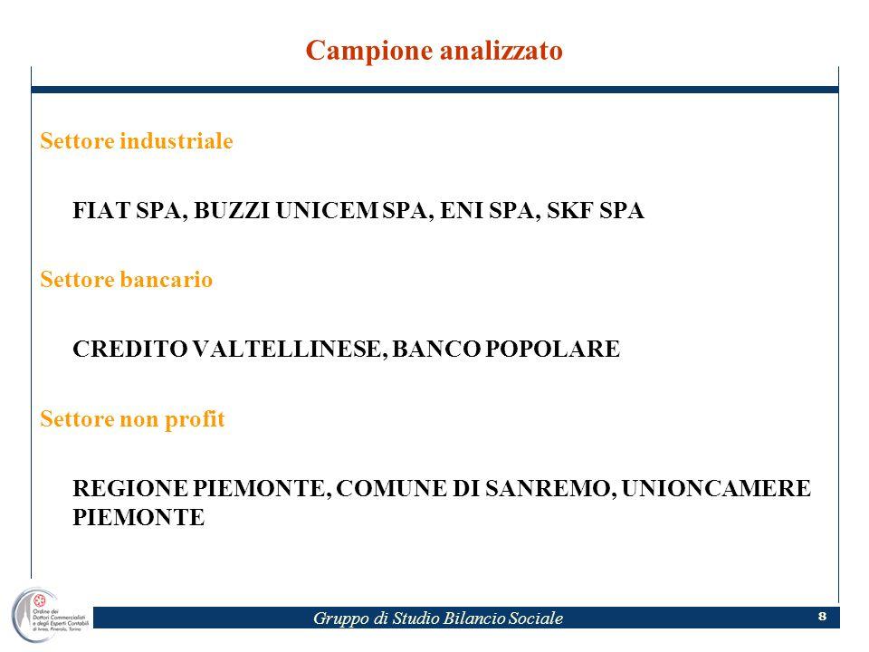Gruppo di Studio Bilancio Sociale 8 Campione analizzato Settore industriale FIAT SPA, BUZZI UNICEM SPA, ENI SPA, SKF SPA Settore bancario CREDITO VALT