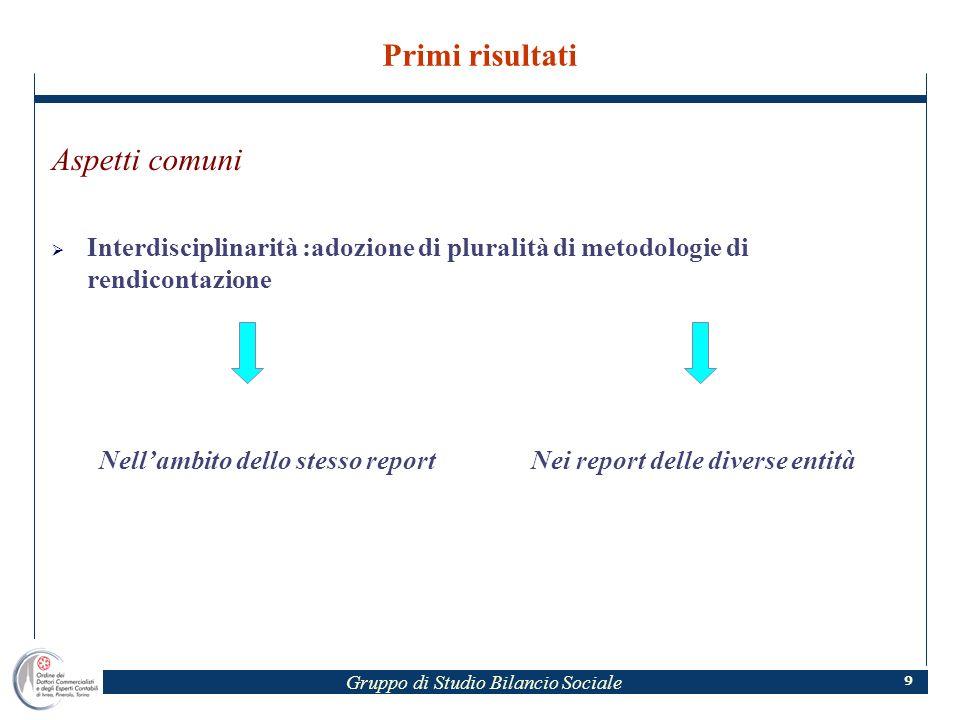 Gruppo di Studio Bilancio Sociale 9 Primi risultati Aspetti comuni Interdisciplinarità :adozione di pluralità di metodologie di rendicontazione Nellambito dello stesso reportNei report delle diverse entità