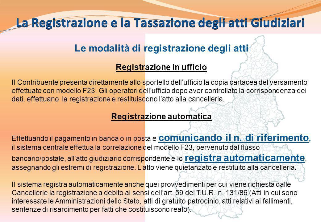 6 La Registrazione e la Tassazione degli atti Giudiziari Le modalità di registrazione degli atti Registrazione in ufficio Il Contribuente presenta dir