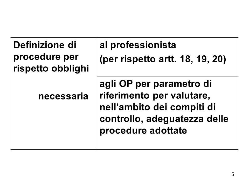 5 Definizione di procedure per rispetto obblighi necessaria al professionista (per rispetto artt. 18, 19, 20) agli OP per parametro di riferimento per
