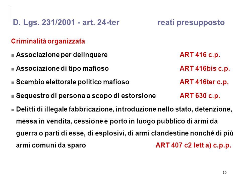 10 D. Lgs. 231/2001 - art. 24-ter reati presupposto Criminalità organizzata Associazione per delinquere ART 416 c.p. Associazione di tipo mafiosoART 4
