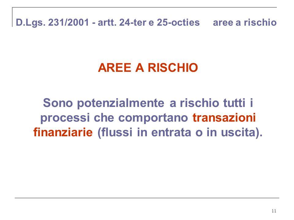 11 D.Lgs. 231/2001 - artt. 24-ter e 25-octies aree a rischio AREE A RISCHIO Sono potenzialmente a rischio tutti i processi che comportano transazioni
