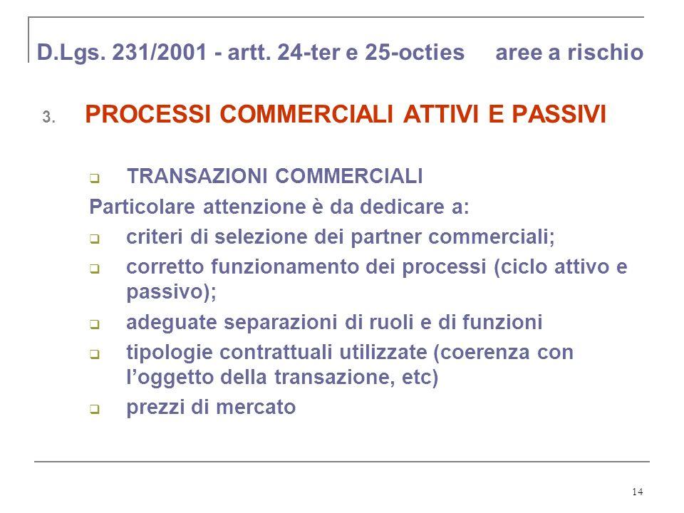 14 D.Lgs. 231/2001 - artt. 24-ter e 25-octies aree a rischio 3. PROCESSI COMMERCIALI ATTIVI E PASSIVI TRANSAZIONI COMMERCIALI Particolare attenzione è