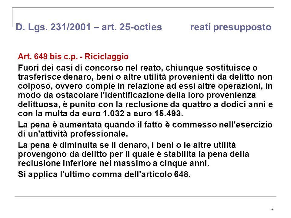 4 D. Lgs. 231/2001 – art. 25-octies reati presupposto Art. 648 bis c.p. - Riciclaggio Fuori dei casi di concorso nel reato, chiunque sostituisce o tra