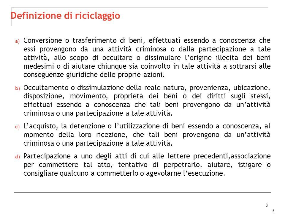 8 8 a) Conversione o trasferimento di beni, effettuati essendo a conoscenza che essi provengono da una attività criminosa o dalla partecipazione a tal