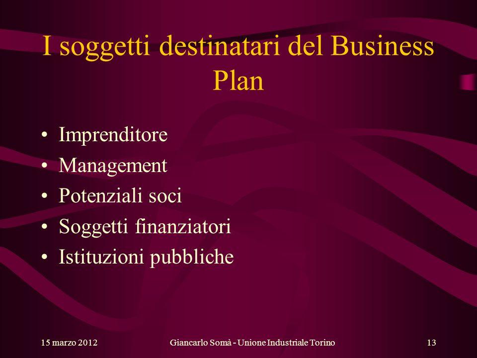I soggetti destinatari del Business Plan Imprenditore Management Potenziali soci Soggetti finanziatori Istituzioni pubbliche 15 marzo 2012Giancarlo So