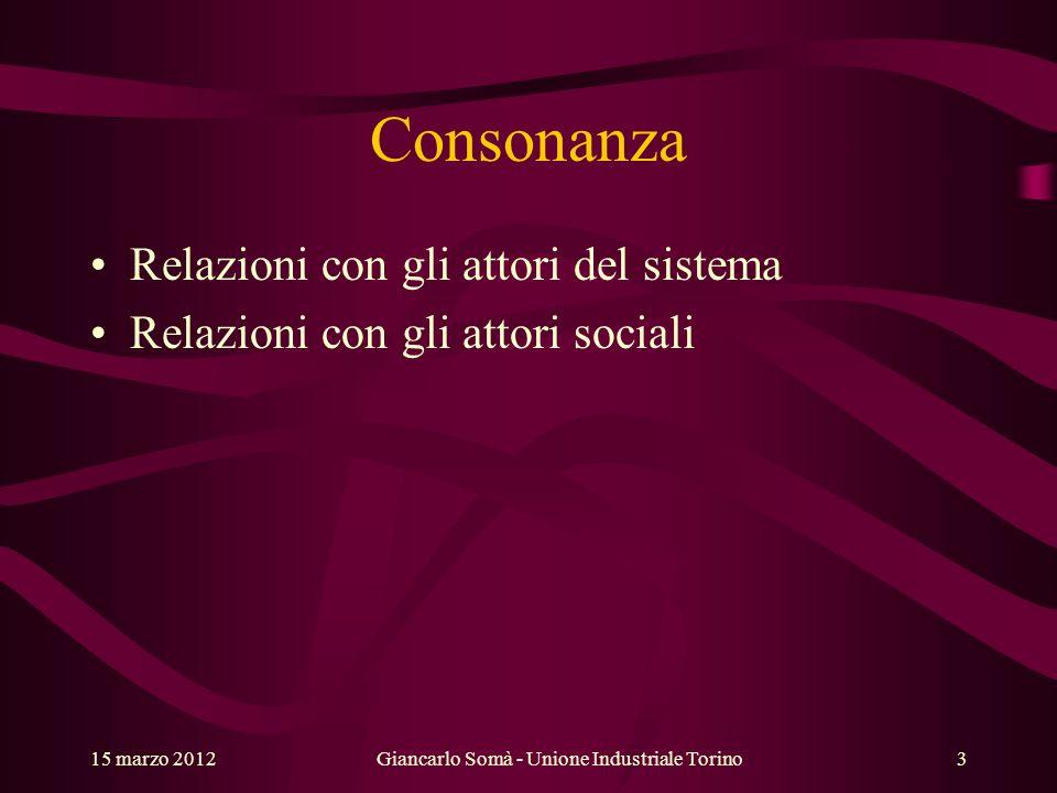 Consonanza Relazioni con gli attori del sistema Relazioni con gli attori sociali Giancarlo Somà - Unione Industriale Torino15 marzo 20123