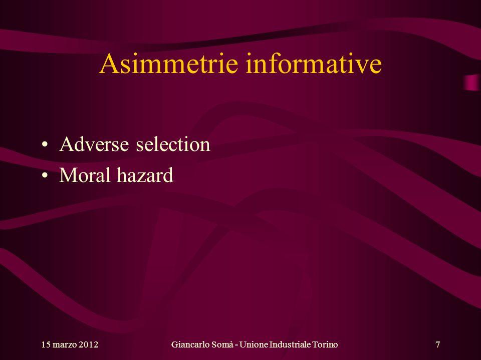 Asimmetrie informative Adverse selection Moral hazard Giancarlo Somà - Unione Industriale Torino15 marzo 20127