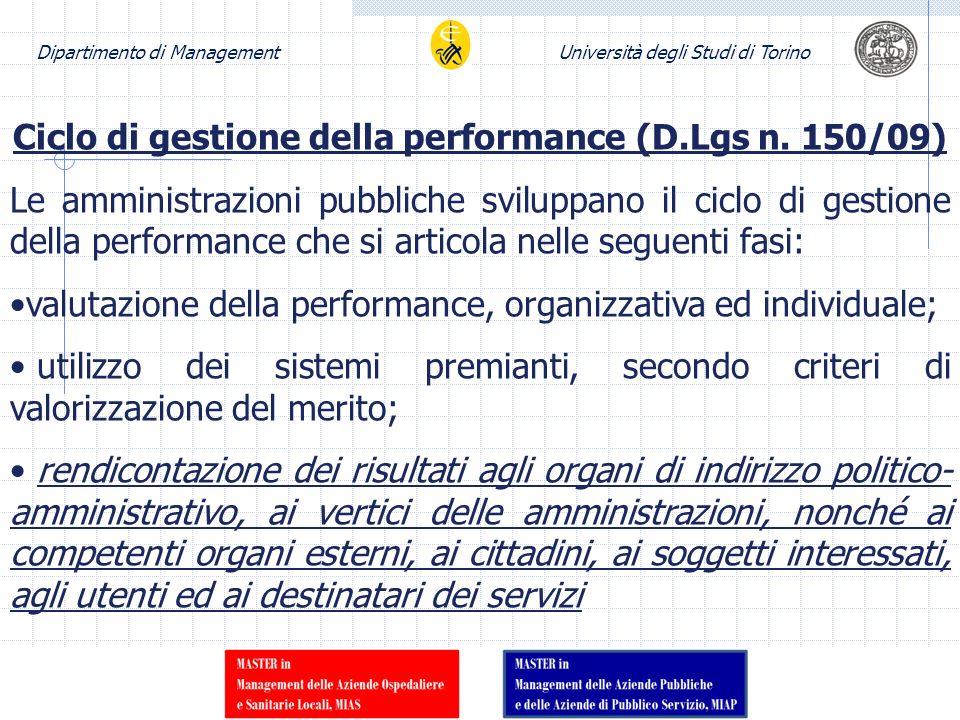 Dipartimento di ManagementUniversità degli Studi di Torino Ciclo di gestione della performance (D.Lgs n. 150/09) Le amministrazioni pubbliche sviluppa