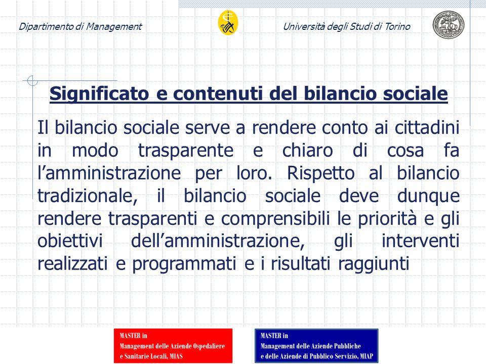 Dipartimento di ManagementUniversità degli Studi di Torino Significato e contenuti del bilancio sociale Il bilancio sociale serve a rendere conto ai c