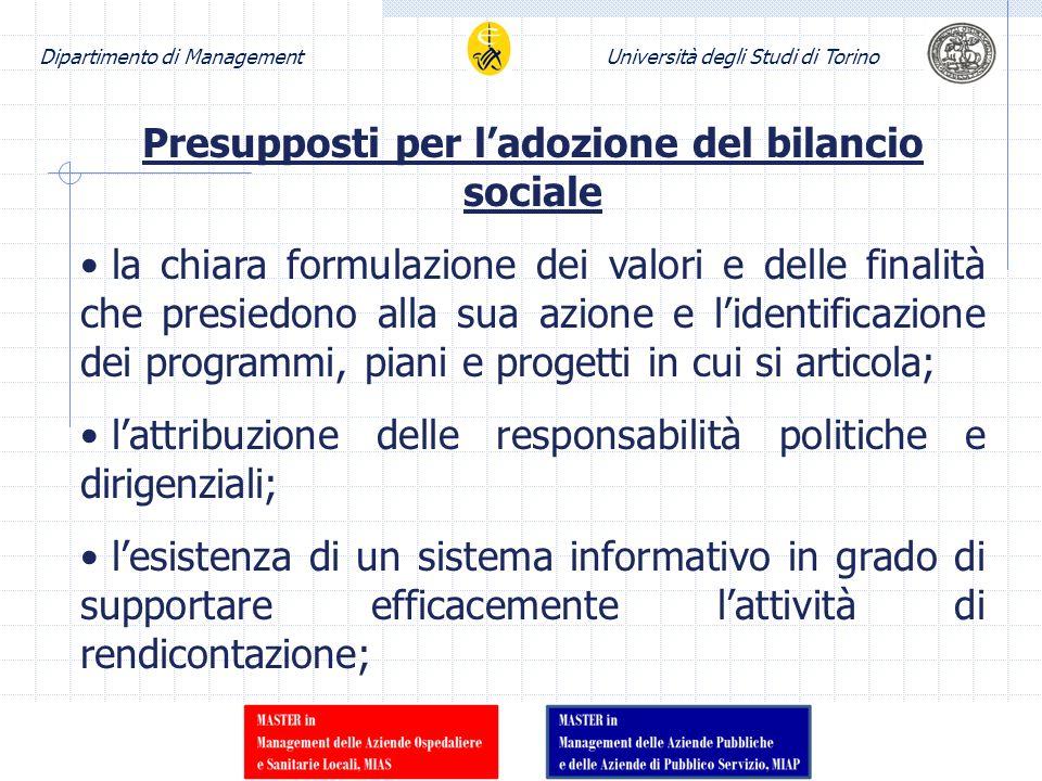 Dipartimento di ManagementUniversità degli Studi di Torino Presupposti per ladozione del bilancio sociale la chiara formulazione dei valori e delle fi