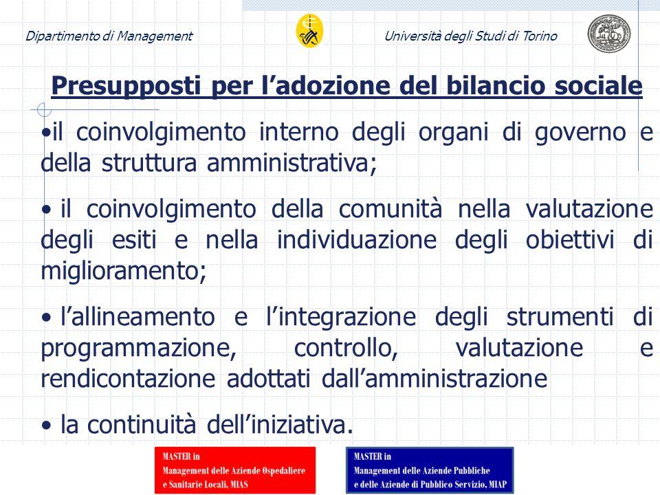 Dipartimento di ManagementUniversità degli Studi di Torino Presupposti per ladozione del bilancio sociale il coinvolgimento interno degli organi di go