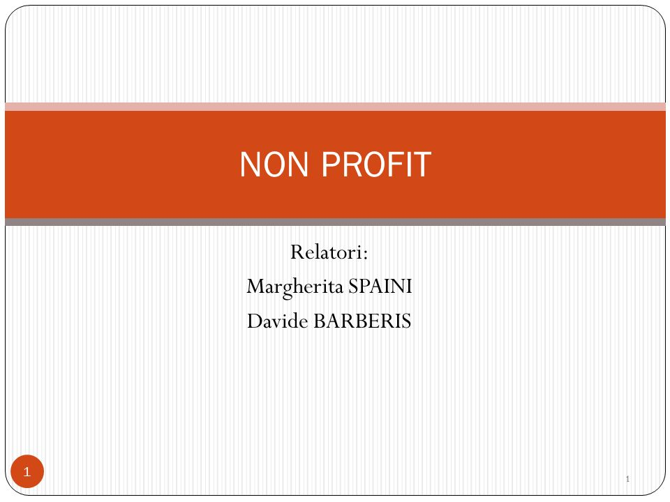 Relatori: Margherita SPAINI Davide BARBERIS 1 NON PROFIT 11