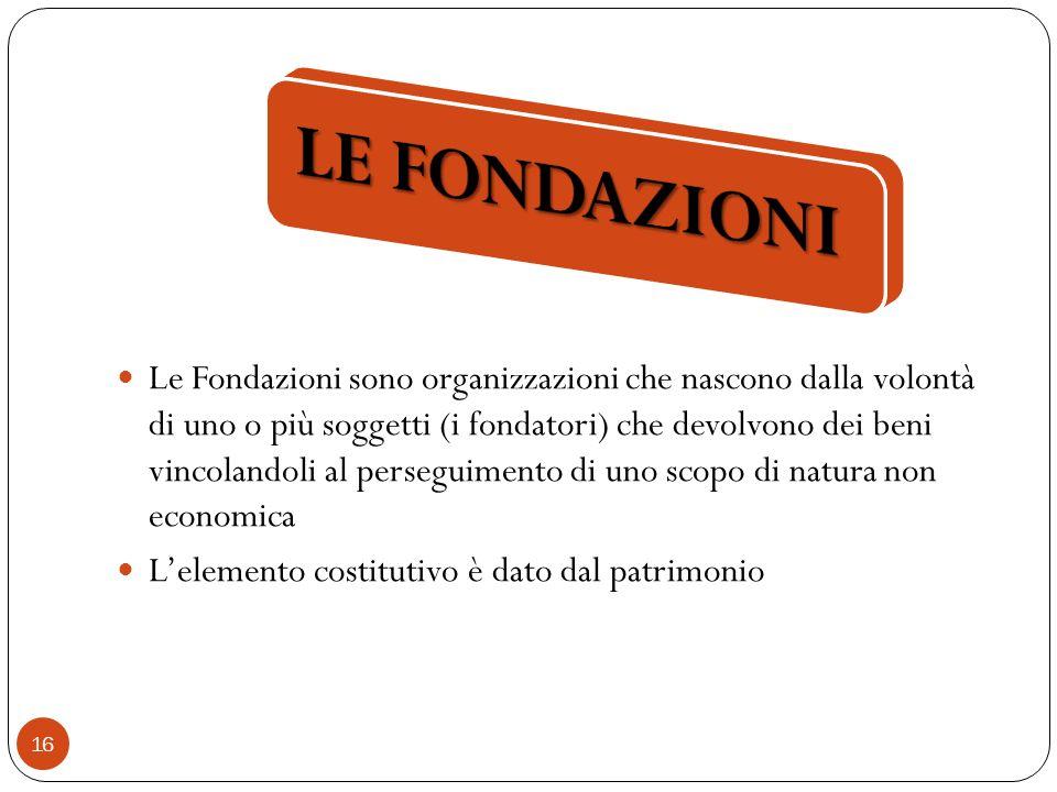16 Le Fondazioni sono organizzazioni che nascono dalla volontà di uno o più soggetti (i fondatori) che devolvono dei beni vincolandoli al perseguimento di uno scopo di natura non economica Lelemento costitutivo è dato dal patrimonio