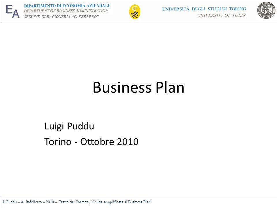 E A SEZIONE DI RAGIONERIA G. FERRERO L.Puddu – A. Indelicato – 2010 – Tratto da: Formez, Guida semplificata al Business Plan Business Plan Luigi Puddu