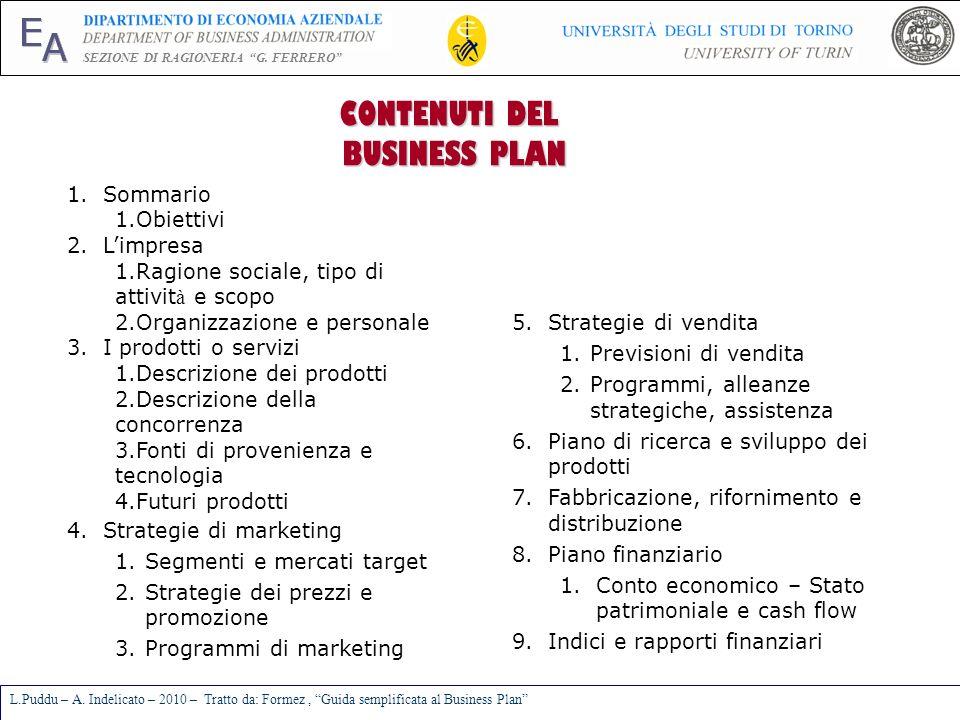 E A SEZIONE DI RAGIONERIA G. FERRERO L.Puddu – A. Indelicato – 2010 – Tratto da: Formez, Guida semplificata al Business Plan CONTENUTI DEL BUSINESS PL