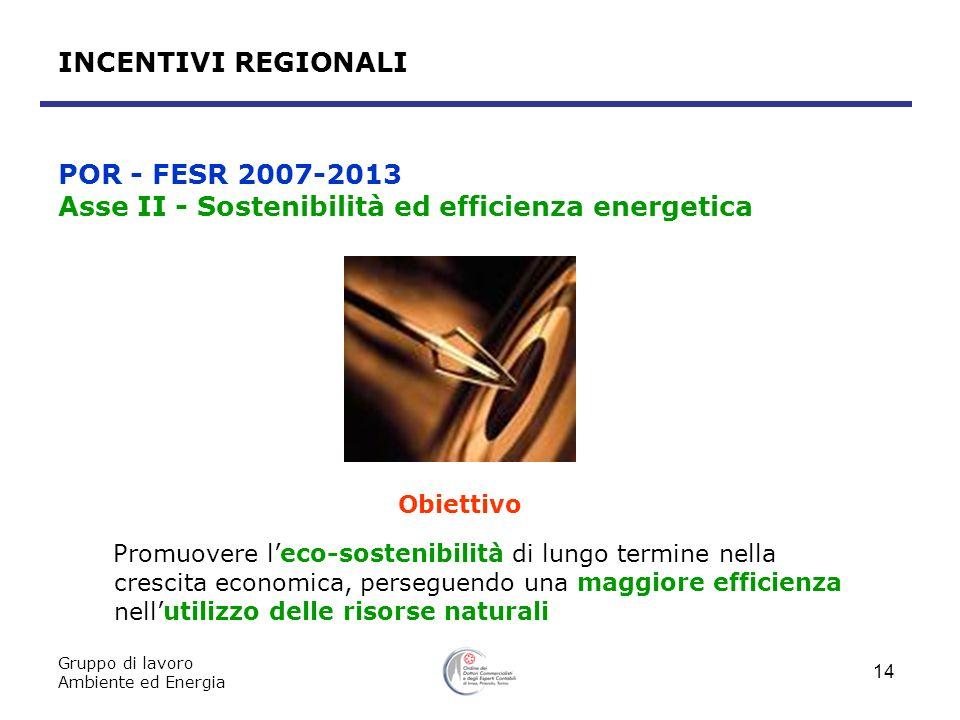 Gruppo di lavoro Ambiente ed Energia 14 Obiettivo Promuovere leco-sostenibilità di lungo termine nella crescita economica, perseguendo una maggiore ef