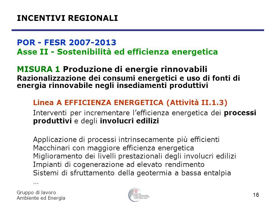 Gruppo di lavoro Ambiente ed Energia 16 MISURA 1 Produzione di energie rinnovabili Razionalizzazione dei consumi energetici e uso di fonti di energia