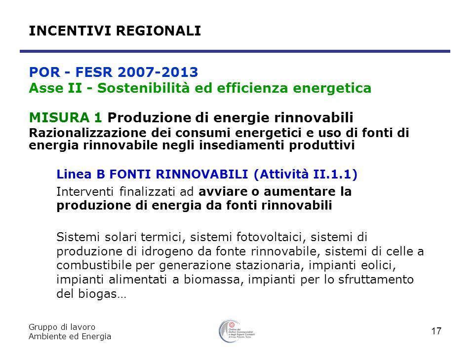 Gruppo di lavoro Ambiente ed Energia 17 MISURA 1 Produzione di energie rinnovabili Razionalizzazione dei consumi energetici e uso di fonti di energia
