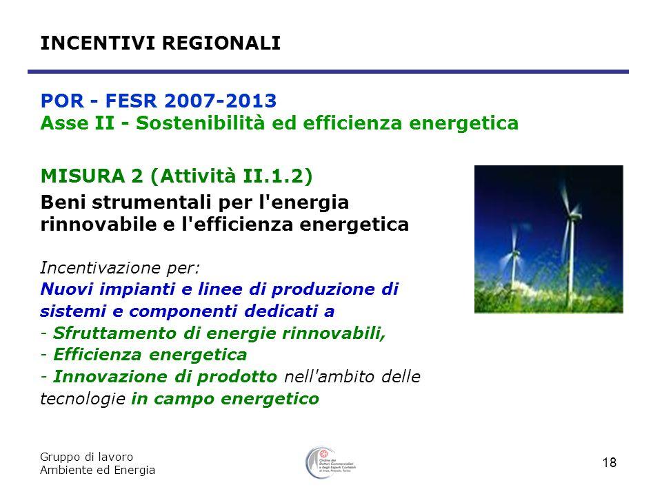 Gruppo di lavoro Ambiente ed Energia 18 MISURA 2 (Attività II.1.2) Beni strumentali per l'energia rinnovabile e l'efficienza energetica Incentivazione