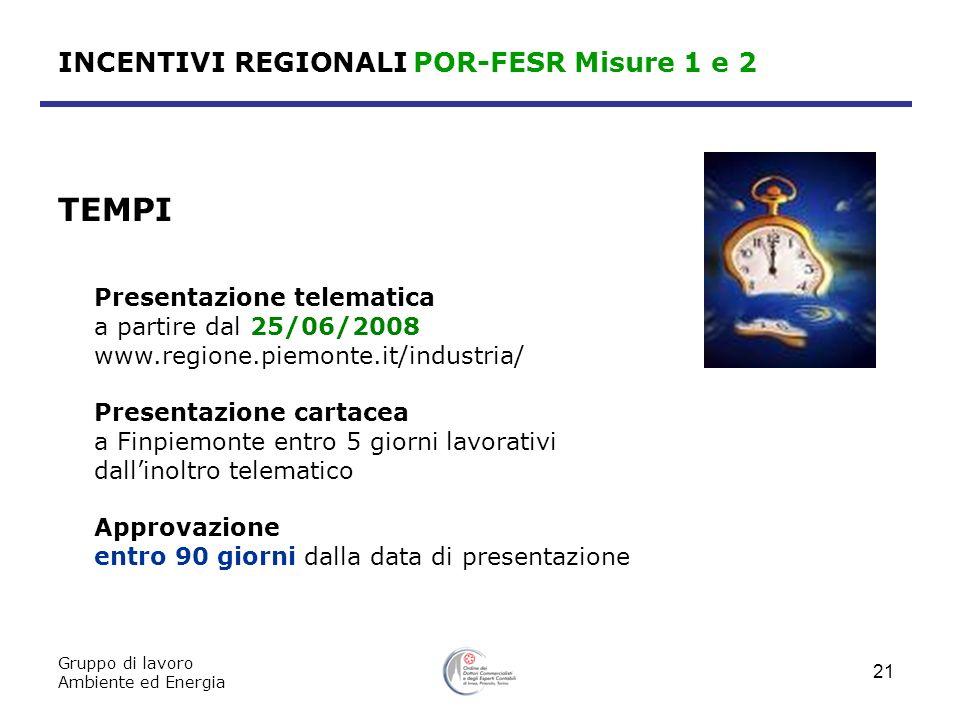 Gruppo di lavoro Ambiente ed Energia 21 INCENTIVI REGIONALI POR-FESR Misure 1 e 2 TEMPI Presentazione telematica a partire dal 25/06/2008 www.regione.