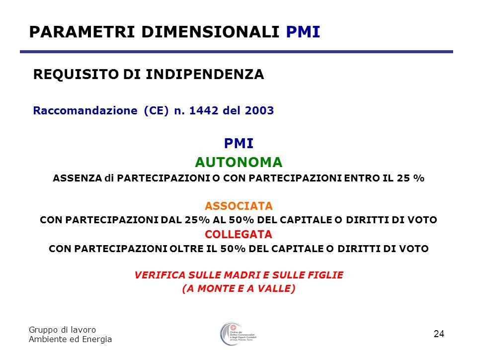 Gruppo di lavoro Ambiente ed Energia 24 PARAMETRI DIMENSIONALI PMI REQUISITO DI INDIPENDENZA Raccomandazione (CE) n. 1442 del 2003 PMI AUTONOMA ASSENZ