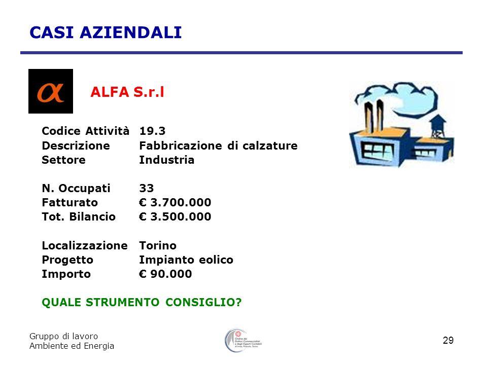 Gruppo di lavoro Ambiente ed Energia 29 CASI AZIENDALI ALFA S.r.l Codice Attività19.3 DescrizioneFabbricazione di calzature SettoreIndustria N. Occupa