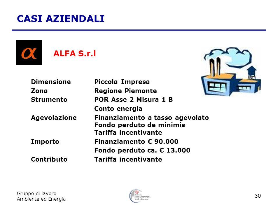 Gruppo di lavoro Ambiente ed Energia 30 CASI AZIENDALI ALFA S.r.l DimensionePiccola Impresa ZonaRegione Piemonte StrumentoPOR Asse 2 Misura 1 B Conto