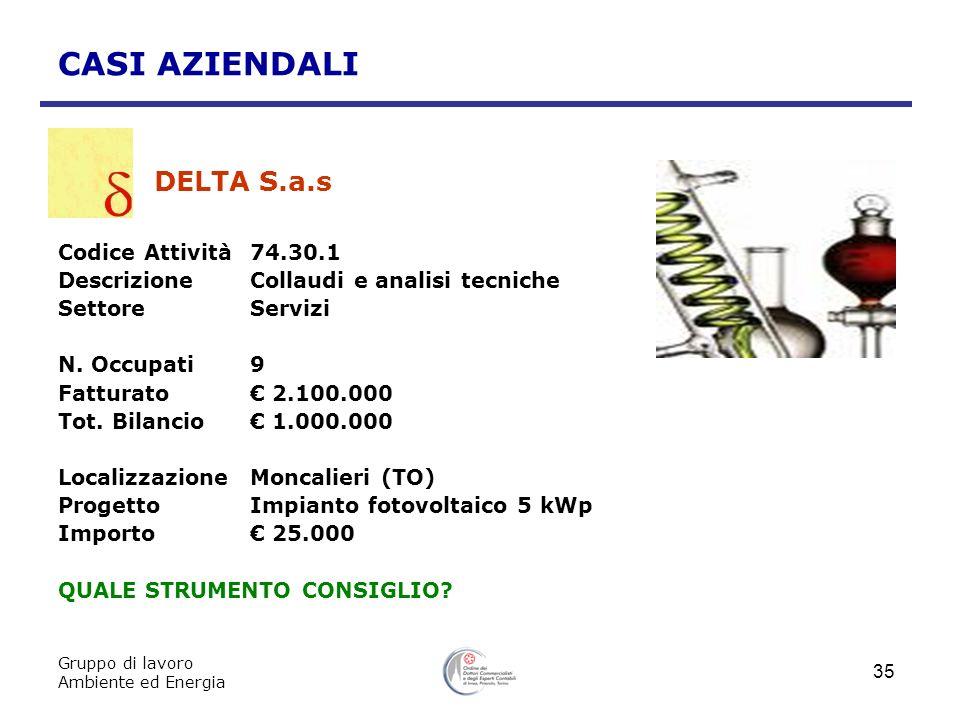 Gruppo di lavoro Ambiente ed Energia 35 CASI AZIENDALI DELTA S.a.s Codice Attività 74.30.1 DescrizioneCollaudi e analisi tecniche SettoreServizi N. Oc