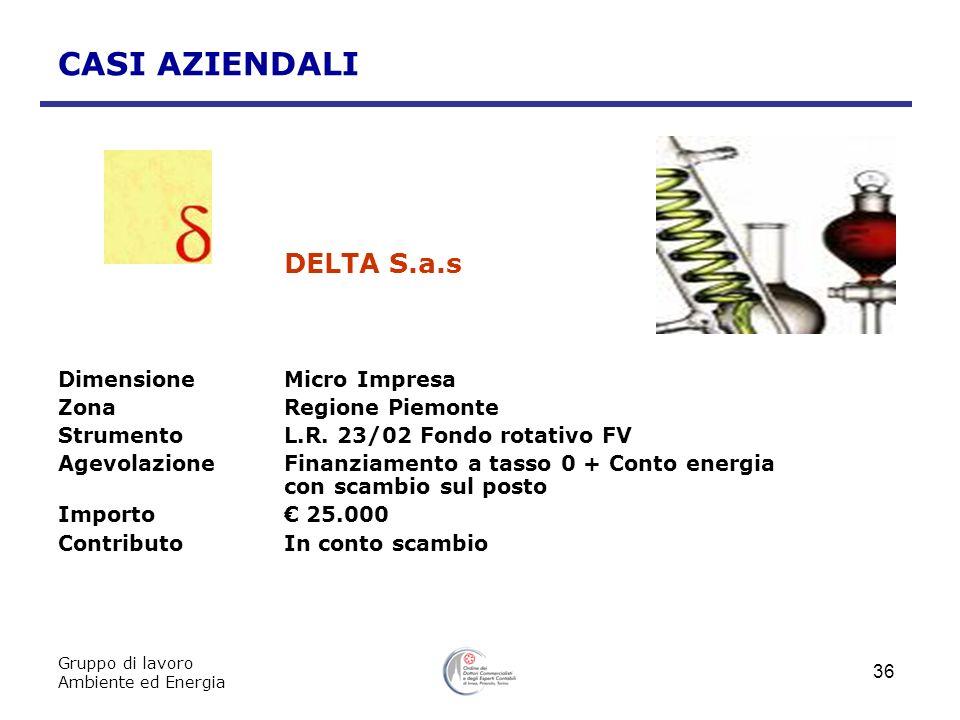 Gruppo di lavoro Ambiente ed Energia 36 CASI AZIENDALI DELTA S.a.s DimensioneMicro Impresa ZonaRegione Piemonte StrumentoL.R. 23/02 Fondo rotativo FV