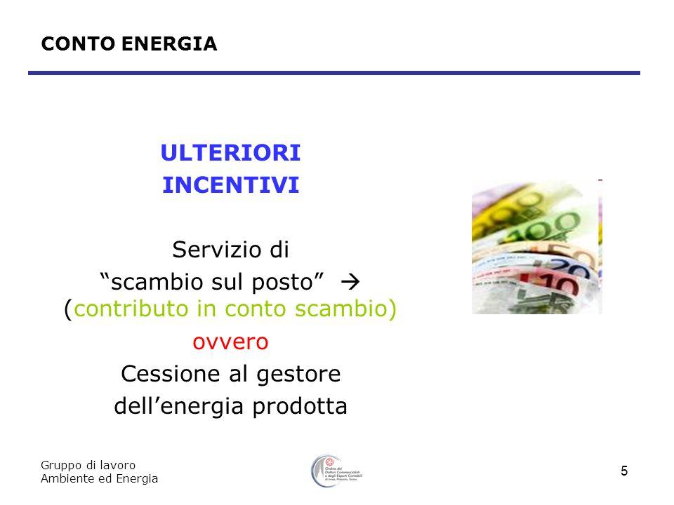 Gruppo di lavoro Ambiente ed Energia 5 CONTO ENERGIA ULTERIORI INCENTIVI Servizio di scambio sul posto (contributo in conto scambio) ovvero Cessione a