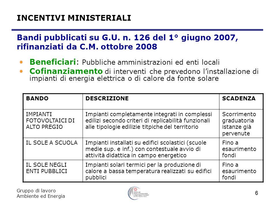 Gruppo di lavoro Ambiente ed Energia 6 Bandi pubblicati su G.U. n. 126 del 1° giugno 2007, rifinanziati da C.M. ottobre 2008 Beneficiari: Pubbliche am