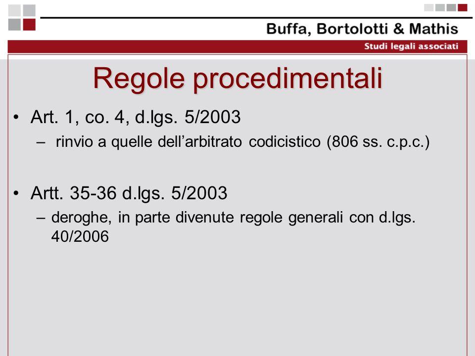 Regole procedimentali Art. 1, co. 4, d.lgs. 5/2003 – rinvio a quelle dellarbitrato codicistico (806 ss. c.p.c.) Artt. 35-36 d.lgs. 5/2003 –deroghe, in