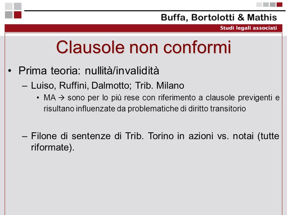 Clausole non conformi Prima teoria: nullità/invalidità –Luiso, Ruffini, Dalmotto; Trib. Milano MA sono per lo più rese con riferimento a clausole prev