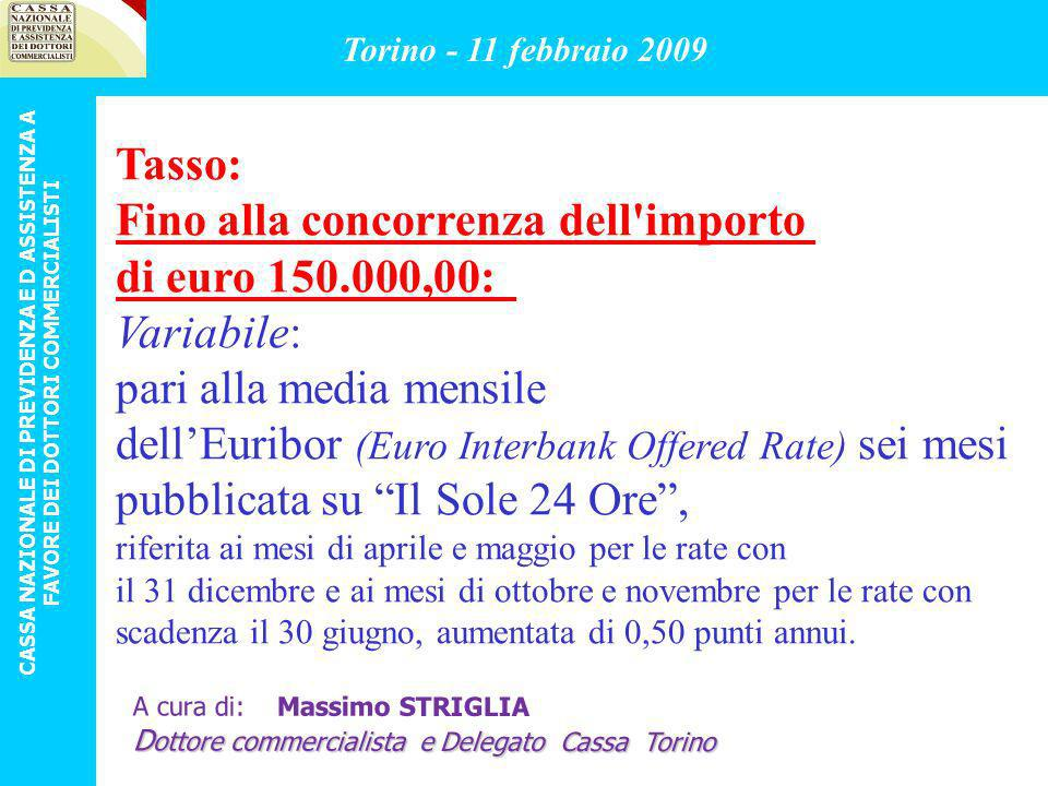 Tasso: Fino alla concorrenza dell'importo di euro 150.000,00: Variabile: pari alla media mensile dellEuribor (Euro Interbank Offered Rate) sei mesi pu