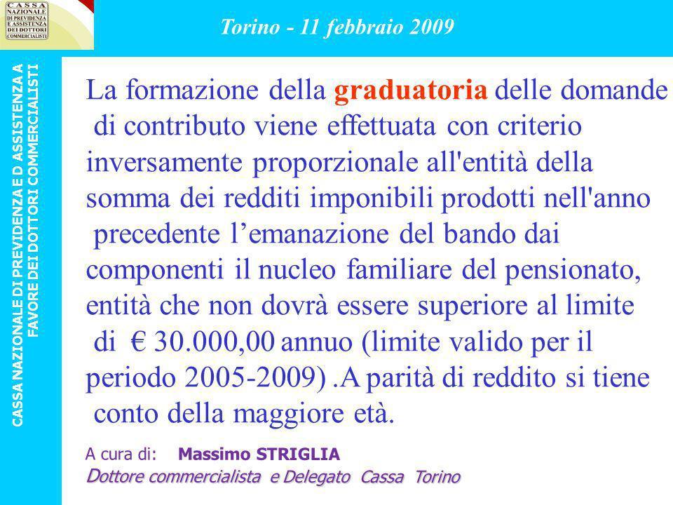 ULTIMO BANDO DI CONCORSO APPROVATO Scadenza 28.02.2009 limitatamente al periodo 1.1.2008 – 31.12.2008 approvato dal Consiglio di Amministrazione della Cassa nella riunione del 17/12/2008 Torino - 11 febbraio 2009 CASSA NAZIONALE DI PREVIDENZA E D ASSISTENZA A FAVORE DEI DOTTORI COMMERCIALISTI A cura di: Massimo STRIGLIA D ottore commercialista e Delegato Cassa Torino