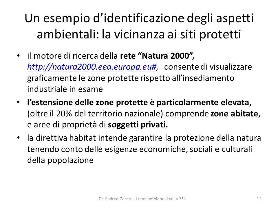 Un esempio didentificazione degli aspetti ambientali: la vicinanza ai siti protetti il motore di ricerca della rete Natura 2000, http://natura2000.eea
