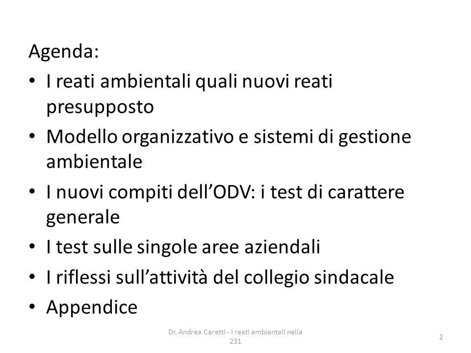 Agenda: I reati ambientali quali nuovi reati presupposto Modello organizzativo e sistemi di gestione ambientale I nuovi compiti dellODV: i test di car