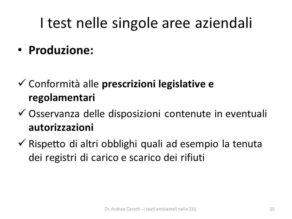 I test nelle singole aree aziendali Produzione: Conformità alle prescrizioni legislative e regolamentari Osservanza delle disposizioni contenute in ev