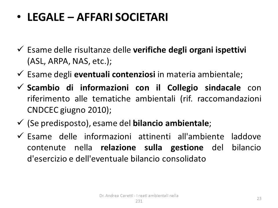 LEGALE – AFFARI SOCIETARI Esame delle risultanze delle verifiche degli organi ispettivi (ASL, ARPA, NAS, etc.); Esame degli eventuali contenziosi in m
