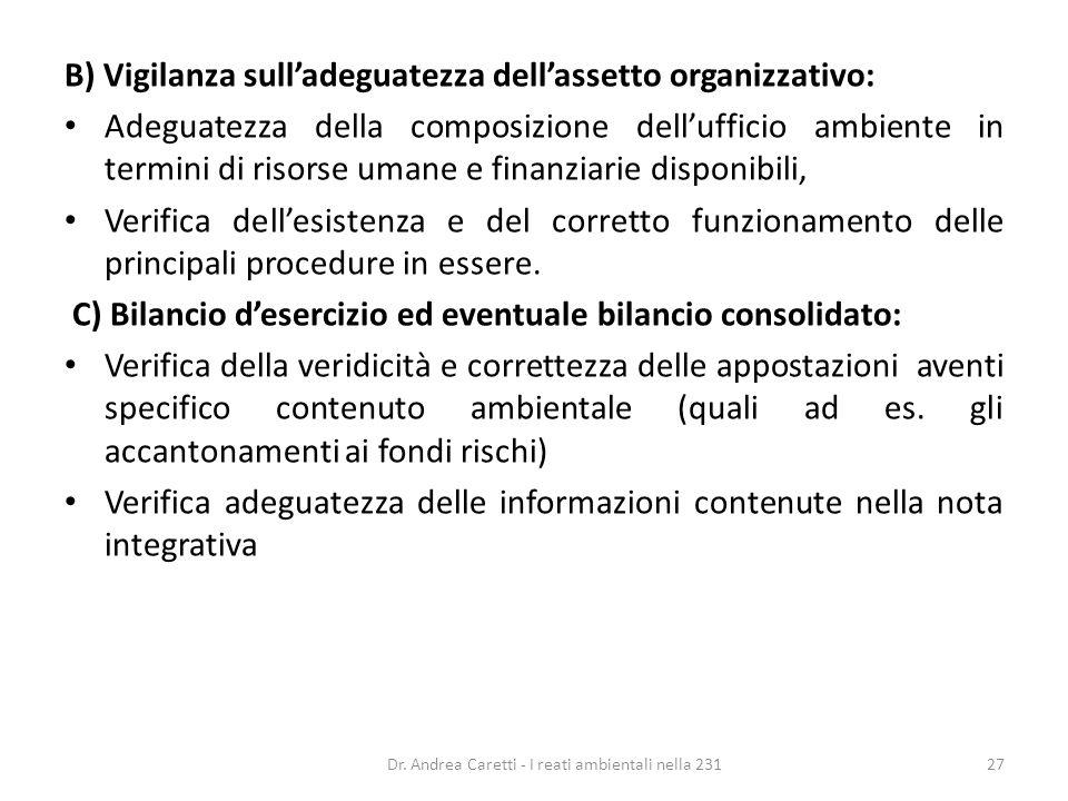 B) Vigilanza sulladeguatezza dellassetto organizzativo: Adeguatezza della composizione dellufficio ambiente in termini di risorse umane e finanziarie
