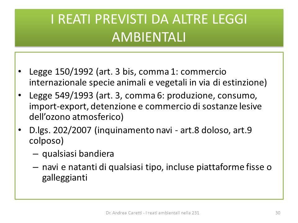 I REATI PREVISTI DA ALTRE LEGGI AMBIENTALI Legge 150/1992 (art. 3 bis, comma 1: commercio internazionale specie animali e vegetali in via di estinzion
