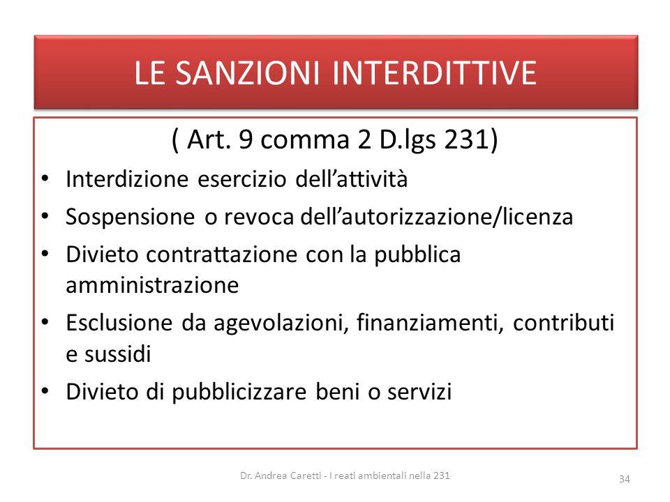 LE SANZIONI INTERDITTIVE ( Art. 9 comma 2 D.lgs 231) Interdizione esercizio dellattività Sospensione o revoca dellautorizzazione/licenza Divieto contr
