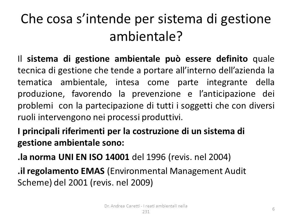 Che cosa sintende per sistema di gestione ambientale? Il sistema di gestione ambientale può essere definito quale tecnica di gestione che tende a port